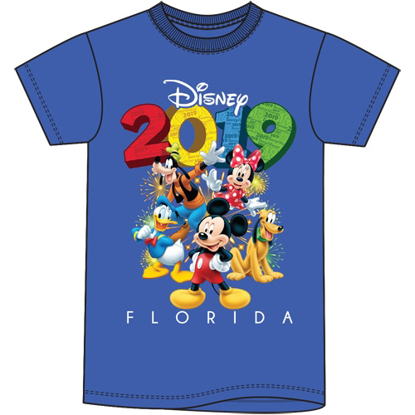 Picture of Disney Youth Unisex T Shirt 2019 Fun Friends Mickey Goofy Donald Pluto Minnie Royal Blue Florida Namedrop