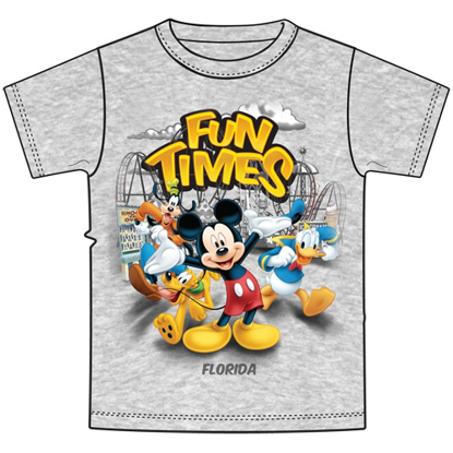 Picture of Disney Youth Unisex Fun Time Mickey Group Gray Florida Namedrop t-shirt