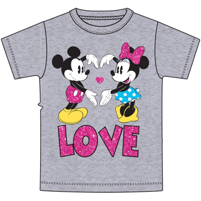 Picture of Disney Youth Girls Tee Mickey Minnie Heart Arms t-shirt