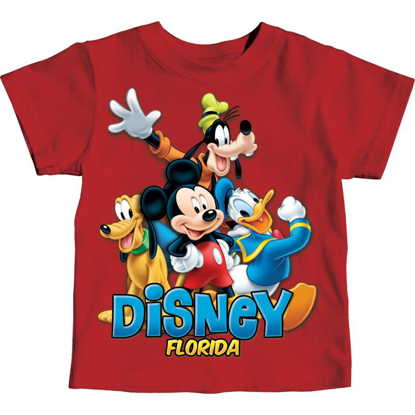 Picture of Disney Toddler Boys T-Shirt Mickey and Friends Goofy Donald Pluto Classic Red Florida Namedrop