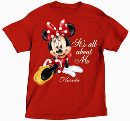 Picture of Disney Plus Size Ladies T Shirt All About Me Minnie Red Florida Namedrop