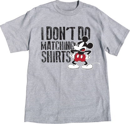 Picture of Disney Plus Size Unisex Tee Shirt Mickey Don't Do Matching Gray