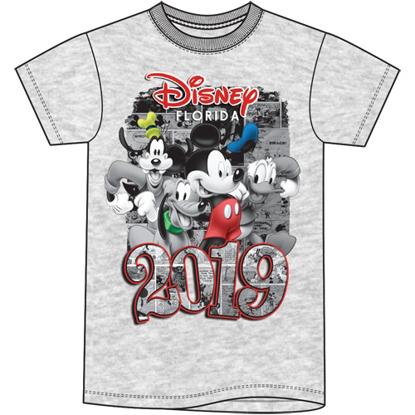Picture of Disney Plus Size Unisex T Shirt 2019 Four Fun Mickey Goofy Donald Pluto Gray Florida Namedrop