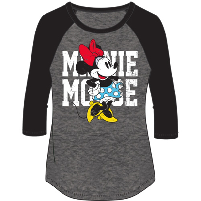 Picture of Disney Plus Fashion Top 3/4 Sleeve Minnie Mouse Name SJ Top Black Gray