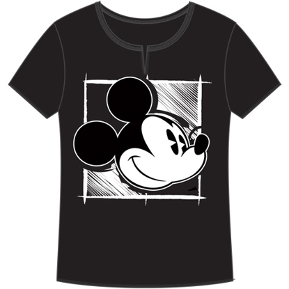 Picture of Disney Adult V-Neck Shirt Painter Mickey Black