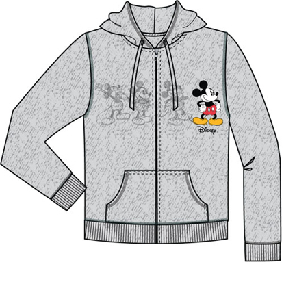 Picture of Disney Adult Mickey Plus One Zip Up Hoodie Gray