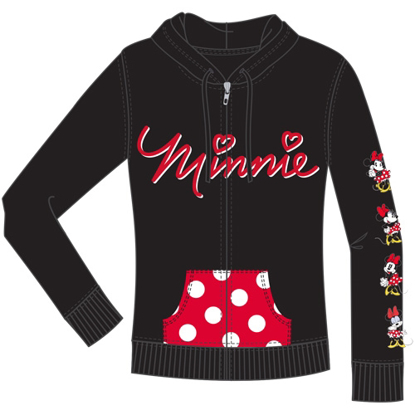 Picture of Disney Junior Minnie Emotions Zip Up Hoodie Black Red
