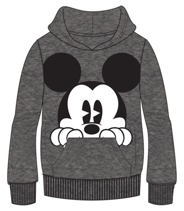Picture of Disney Adult Mickey Peeking Pullover Hoodie Gray
