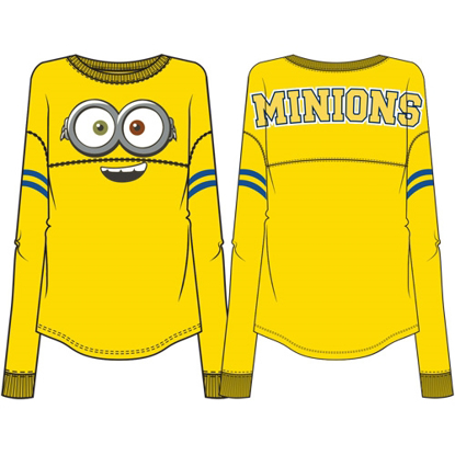 Picture of Disney Adult Minions Collegiate Unisex Long Sleeve Top Yellow