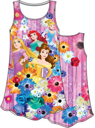 Picture of Disney Girls Sublimated Dress Princess Garden Cinderella Ariel Belle Rapunzel