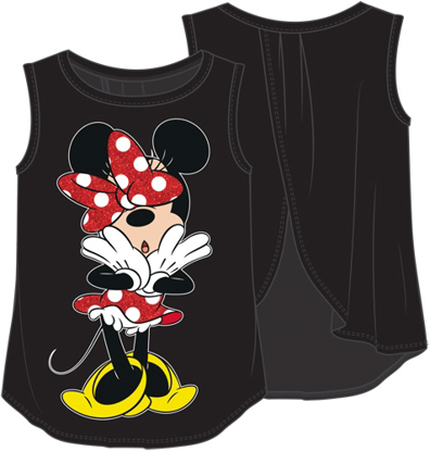 Picture of Disney Youth Girls Tank Open Back Minnie Uh Oh Black