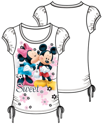 Picture of Disney Youth Girls Fashion Top Side Tie Minnie Mickey Sweetie White