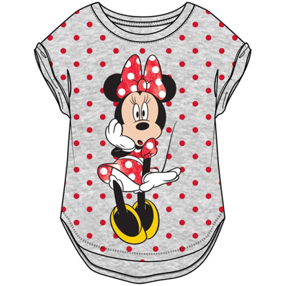 Picture of Disney Youth Girls Minnie Shiny Surprise Hi Lo Cuffed Sleeve Gray Red