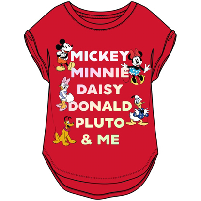 Picture of Youth Girls Fantastic Five Mickey Minnie Daisy Donald Pluto Hi Lo Cuffed Sleeve Red