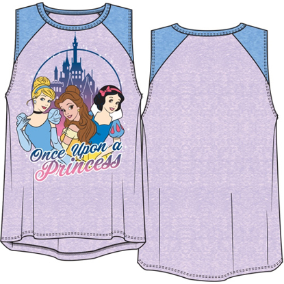 Picture of Disney Youth Girls Raglan Tank Top Once Upon A Princess Cinderella Bella Snow White Lilac & Periwinkle