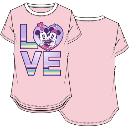 Picture of Disney Youth Girls Ringer Tee Love Mickey Minnie Pastel Pink & White