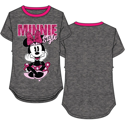 Picture of Disney Youth Girls Ringer Tee Minnie Sitting in Style Charcoal & Fuchsia
