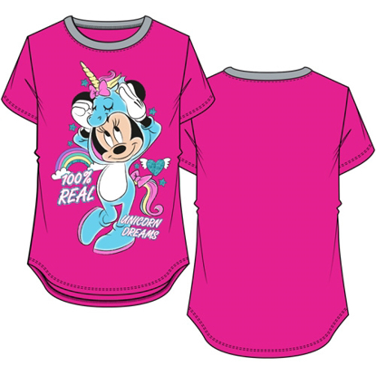 Picture of Disney Youth Girls Ringer Tee Minnie Mouse Real Unicorn Fuchsia & Grey