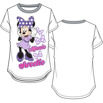 Picture of Disney Youth Girls Ringer Tee Minnie Sweetie White & Gray