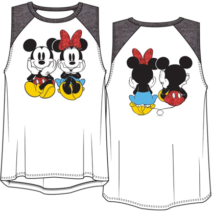 Picture of Disney Youth Girls Raglan Front Back Tank Top Mickey Minnie Sitting White Black
