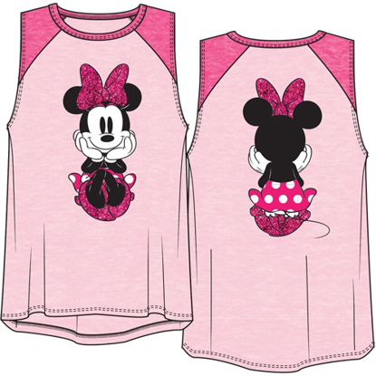Picture of Disney Youth Girls Raglan Front Back Tank Top Minnie Dots Sitting Pastel Pink & Fuchsia