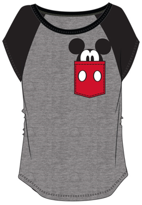 Picture of Disney Youth Mickey Peeking Pocket Tee Charcoal