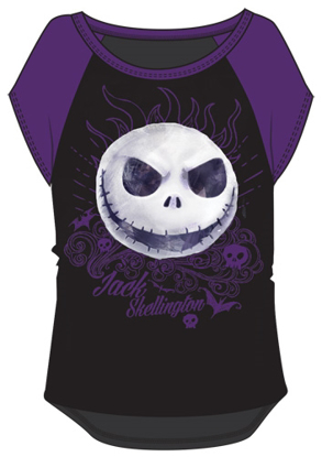 Picture of Disney Youth Girls Nightmare Before Christmas Jack Face Top Black Purple