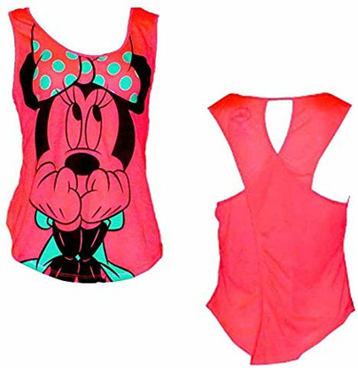 Picture of Disney Womens Fashion Tank Top Scared Minnie Mouse Shocking Pink