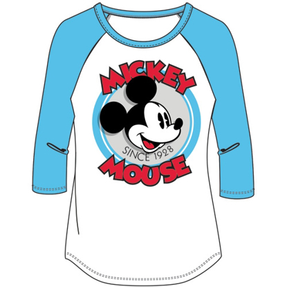 Picture of Junior Fashion Top 3/4 Sleeve Retro Mickey Mouse White Blue