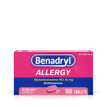 Picture of Benadryl Ultratabs Antihistamine Allergy Medicine Tablets 100 ct