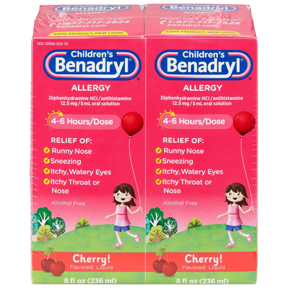 Picture of Childrens Benadryl Antihistamine Allergy Liquid Cherry 8 fl oz 2 pk