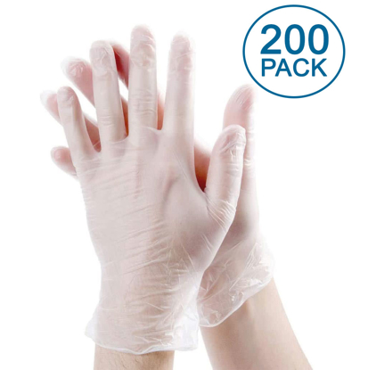 Picture of Disposable Vinyl Gloves Non-Sterile Powder Free Smooth Touch Food Service Grade 200 pack Large Size