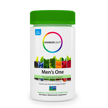 Picture of Rainbow Light Men's One Non GMO Project Verified Multivitamin Plus Superfoods & Probiotics 180 ct