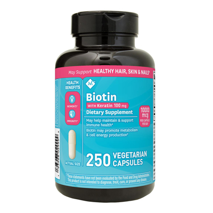 Member's Mark Biotin 10,000mcg with Keratin 100mg 250 ct