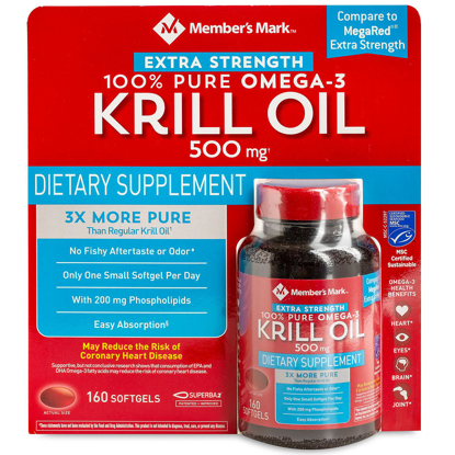 Picture of Member's Mark Extra-Strength 100% Pure Omega-3 Krill Oil 500mg 160 ct