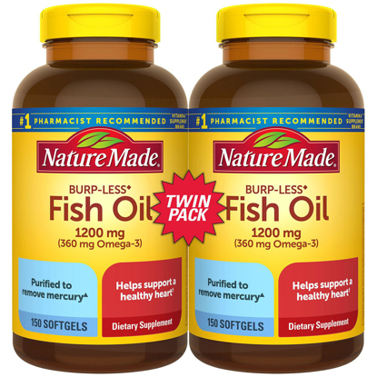 Picture of Nature Made Burp Less Fish Oil Soft gels for Heart Health 1200 mg  150 ct 2 pk