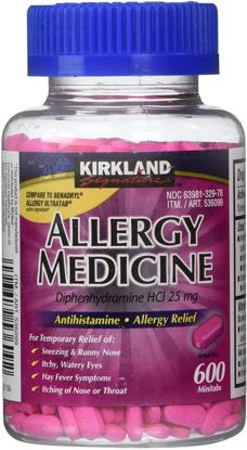 Picture of Kirkland Signature Allergy Medicine 25 mg 600 Minitabs