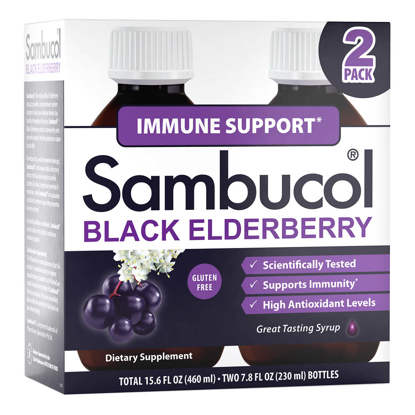Picture of Sambucol Black Elderberry Immune Support Syrup 15.6 Ounces 2 pack