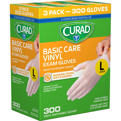 Picture of Curad Basic Care Vinyl Exam Gloves Large 300 ct