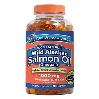 Picture of Pure Alaska Omega-3 Wild Alaskan Salmon Oil  1000mg Softgels  180 Count