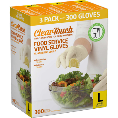 Picture of ClearTouch Food Service Vinyl Gloves 300 Count Large