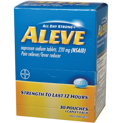 Picture of Aleve 200 mg 30 pouches 2 caplets each