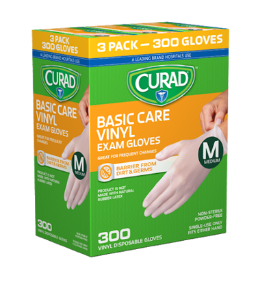 Picture of Curad Basic Care Vinyl Exam Gloves Medium 300 ct