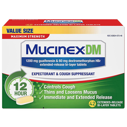 Picture of Mucinex DM Maximum Strength 12-Hour Expectorant and Cough Suppressant Tablets,...