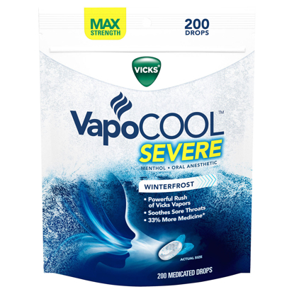 Picture of Vicks VapoCOOL SEVERE Medicated Drops Maximum-Strength Relief to Soothe Sore Throat Pain 200 ct