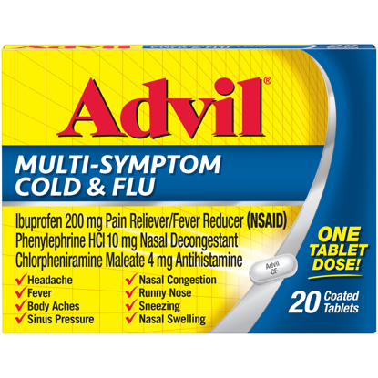 Picture of Advil Multi Symptom Cold & Flu Pain & Fever Reducer 20 Ct