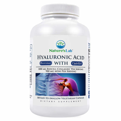 Picture of Nature's Lab Hyaluronic Acid with BioCell Collagen 180 Vegetarian Capsules