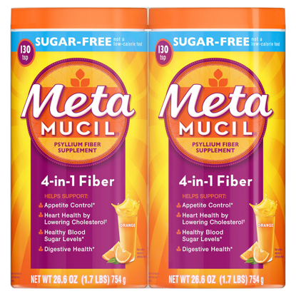 Picture of Metamucil Sugar Free Orange Fiber Supplement Smooth Powder 260 doses