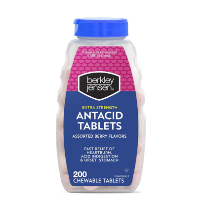 Picture of Berkley Jensen Extra Strength Antacid Tablets Assorted Berry Flavors 2 pk. 200 ct