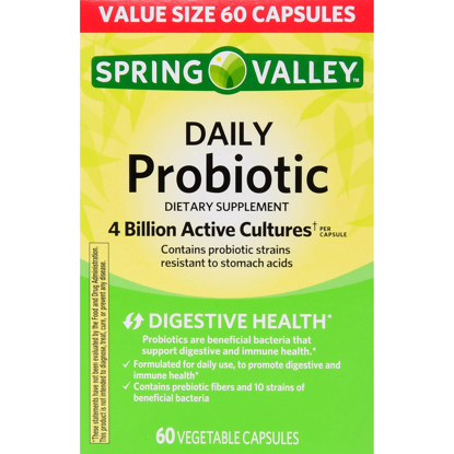 Picture of Spring Valley Daily Probiotic Dietary Supplement Vegetable Capsules 4B CFU 60 Count